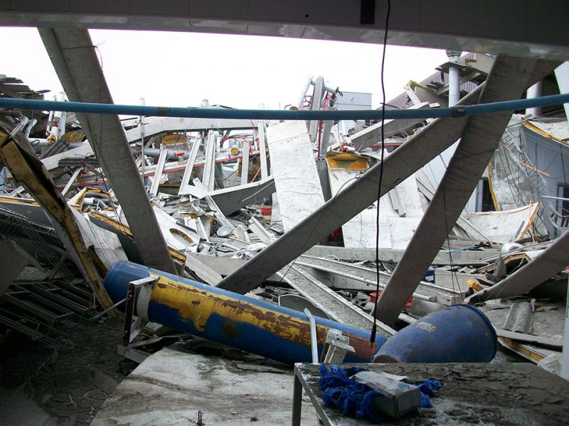 P&I Chile Collapsed roof on top of processing line