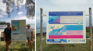 NGO Reef Conservation next to VMCA information board and the SEMPA information board